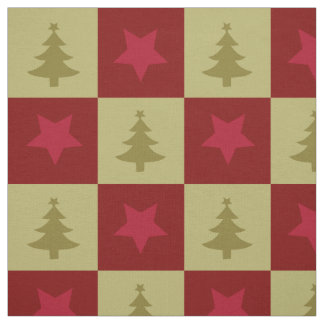 Christmas trees and star pattern Fabric