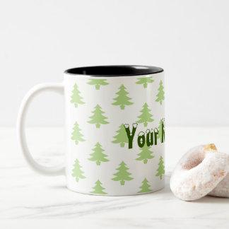 Christmas Trees and Your Name Here Two-Tone Coffee Mug