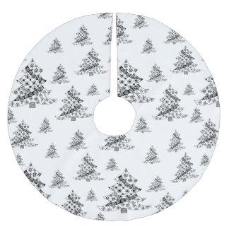 Christmas Trees Black & White Holiday Brushed Polyester Tree Skirt