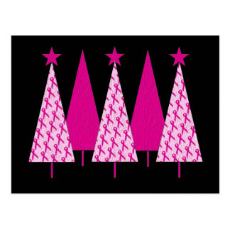 Christmas Trees - Breast Cancer Pink Ribbon Postcard