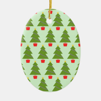 Christmas Trees Ceramic Oval Decoration