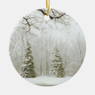 Christmas Trees Double-Sided Ceramic Round Christmas Ornament
