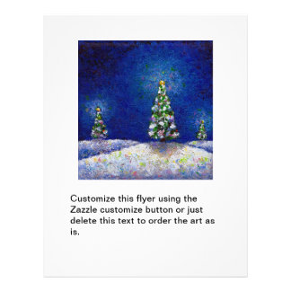 Christmas trees fun colorful original art painting 21.5 cm x 28 cm flyer