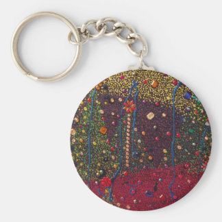 Christmas Trees & Gems Painting Basic Round Button Key Ring