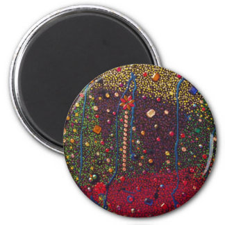 Christmas Trees & Gems Painting 6 Cm Round Magnet