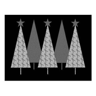 Christmas Trees - Grey Ribbon Brain Cancer Postcard