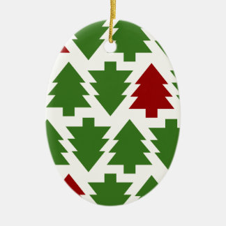 Christmas Trees Holiday Pattern Ceramic Oval Decoration