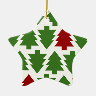 Christmas Trees Holiday Pattern Ceramic Star Decoration