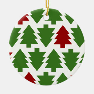 Christmas Trees Holiday Pattern Round Ceramic Decoration