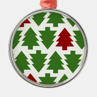Christmas Trees Holiday Pattern Silver-Colored Round Decoration