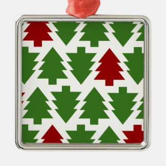 Christmas Trees Holiday Pattern Silver-Colored Square Decoration