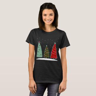 Christmas trees holiday snow festive T-shirt