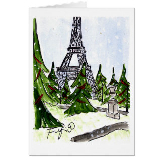 Christmas Trees in Paris Card