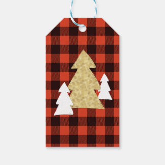 Christmas Trees on Red Plaid Gift Tags