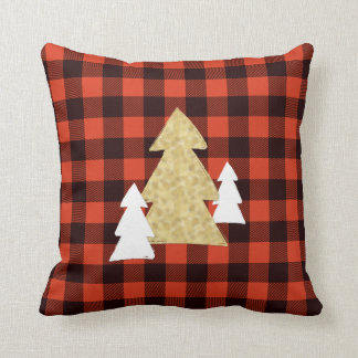 Christmas Trees on Red Plaid Throw Pillow