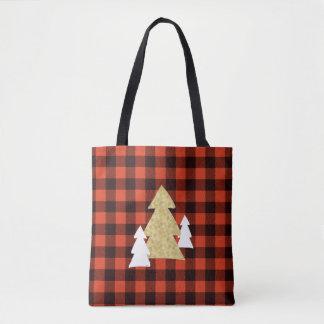 Christmas Trees on Red Plaid Tote Bag