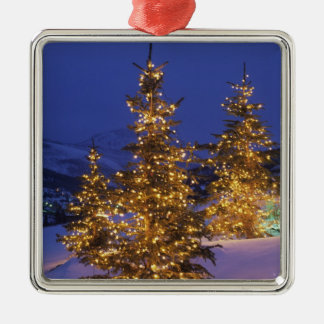Christmas trees, Park City, Wastch Mountains, 2 Silver-Colored Square Decoration