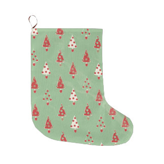 Christmas Trees Pattern Large Christmas Stocking