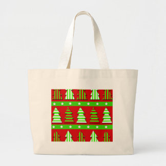Christmas trees pattern large tote bag
