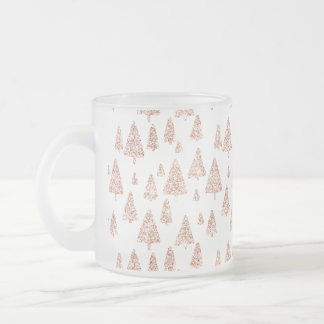 Christmas Trees Pink Rose Gold Blush Powder Frosted Glass Coffee Mug