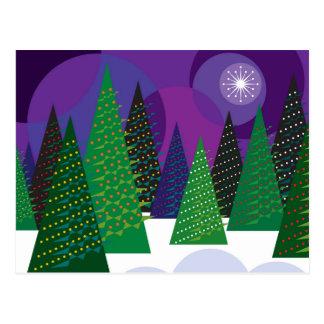 Christmas trees postcard