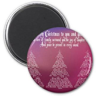 Christmas trees, purple 6 cm round magnet