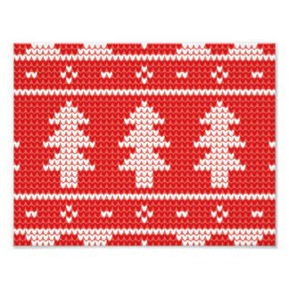 Christmas Trees Red Jumper Knit Pattern Photo Art