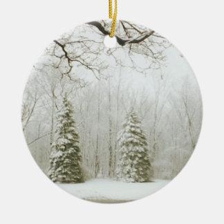 Christmas Trees Round Ceramic Decoration