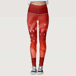 Christmas Trees Shades of Red Leggings
