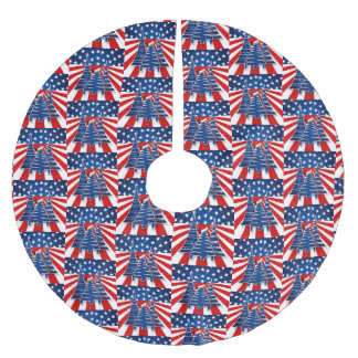 Christmas Trees Staggered Stars and Stripes Brushed Polyester Tree Skirt