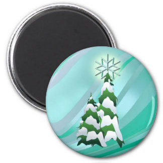 CHRISTMAS TREES & STAR by SHARON SHARPE 6 Cm Round Magnet