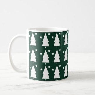 Christmas Trees & Stars | Festive Green Coffee Mug