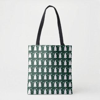 Christmas Trees & Stars Tote Bag - Festive Green