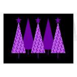 Christmas Trees - Violet Ribbon Greeting Card