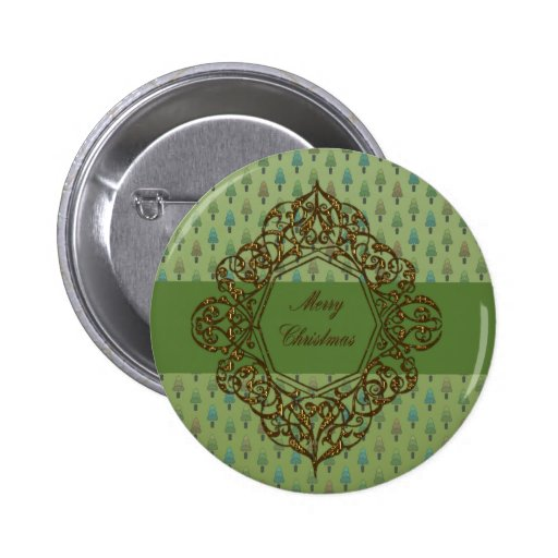 Christmas Trees with Metallic Gold design Pin