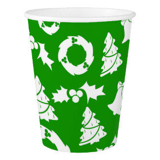 Christmas Trees Wreath Holly Bells Paper Cup