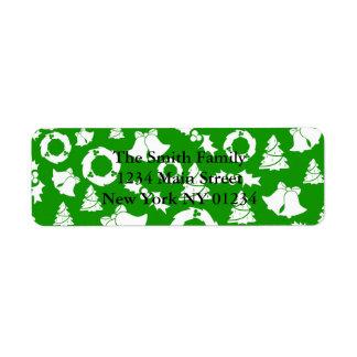 Christmas Trees Wreath Holly Bells Return Address Label
