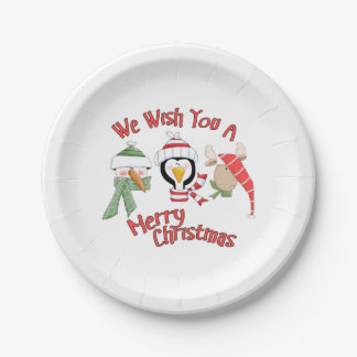 Christmas Trio Animal Wishes 7 Inch Paper Plate