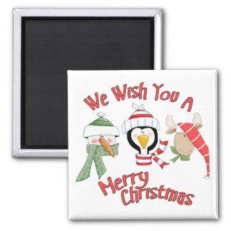 Christmas Trio Animal Wishes Square Magnet