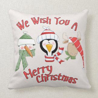 Christmas Trio Animal Wishes Throw Pillow