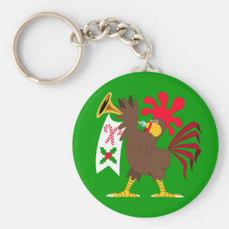 Christmas Trumpeting Rooster Basic Round Button Key Ring