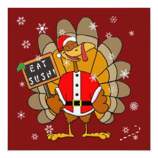 Christmas Turkey 13 Cm X 13 Cm Square Invitation Card