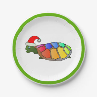Christmas Turtle in Santa Hat Personalized Paper Plate