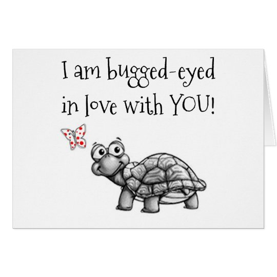 CHRISTMAS TURTLE IS BUGEYED IN LOVE=MISTLETOE!!!! CARD