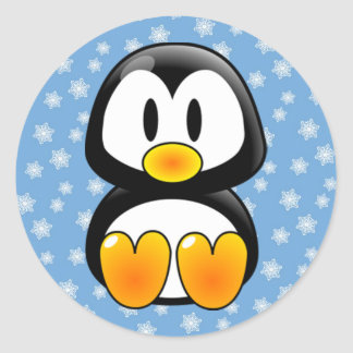 Christmas Tux Penguin Classic Round Sticker
