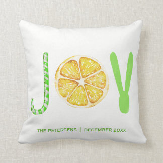Christmas two faces modern fancy typography joy cushion