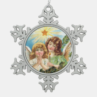 Christmas - Two Little Angels Snowflake Pewter Christmas Ornament