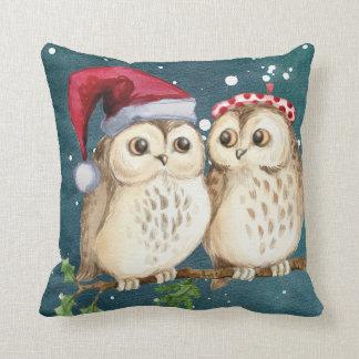 Christmas Two Owls Santa Hat Watercolor Cushion