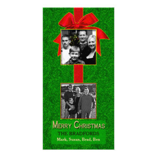 CHRISTMAS - TWO PHOTO - WALL HANGING -GREEN/RED PERSONALIZED PHOTO CARD