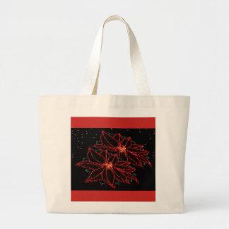 Christmas Two Poinsettias 2016 Large Tote Bag